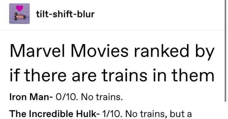 ranking marvel movies by how many trains were in them