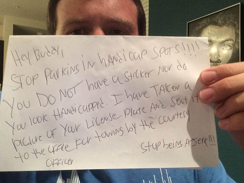 Response of The Day: Disabled Veteran Reacts to Nasty Note in Best Way