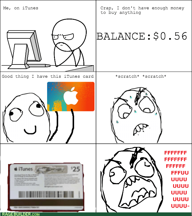 gift card,iTunes,rage