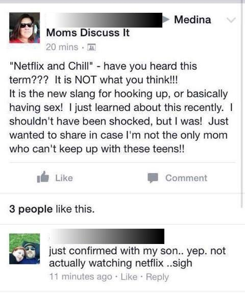funny memes mom warning about netflix and chill