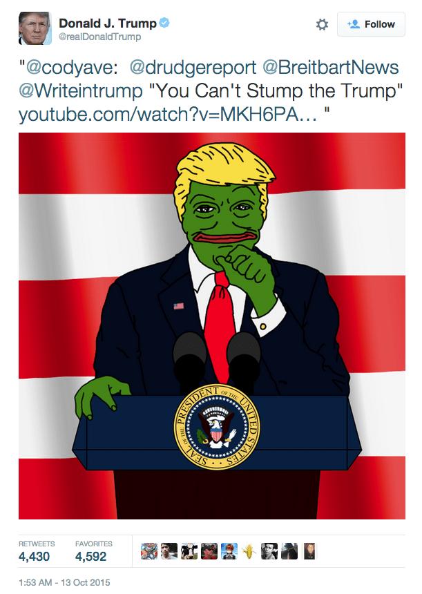 political memes donald trump tweets pepe trump
