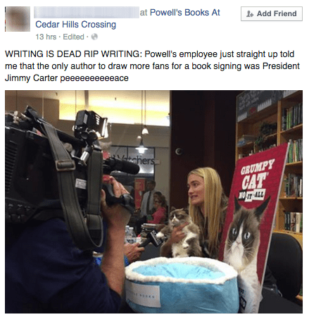 funny memes grumpy cat book signing rip writing