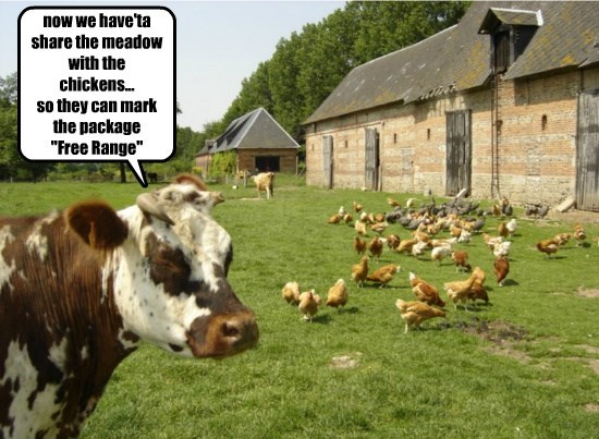 "now we have'ta share the meadow with the chickens... so they can mark the package ""Free Range"""