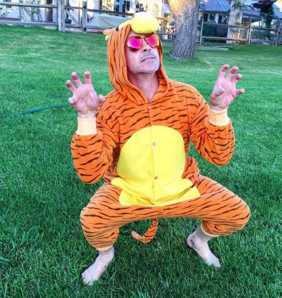 iron man robert downey jr Robert Downey Jr. Dressed as a Tiger to Invite a Kid to the Premier of Captain America: Civil War