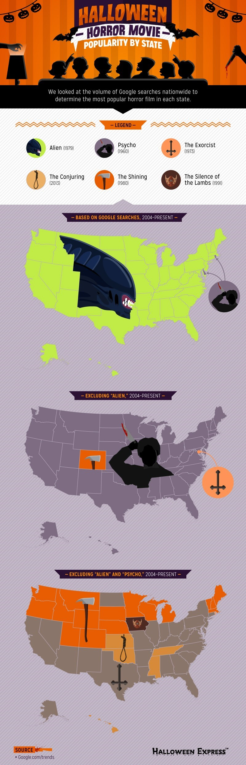 halloween memes popular horror movies by state