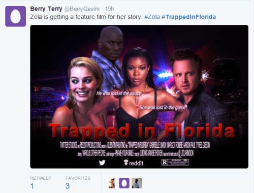 funny memes trapped in florida movie zola twitter story