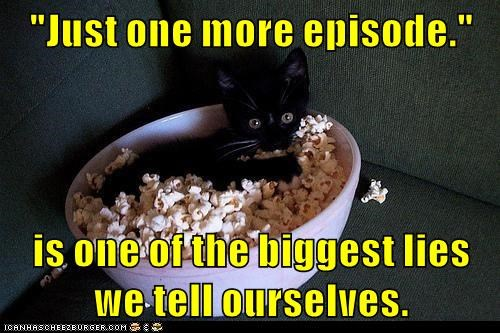 movies,One More Time,Popcorn,caption,Cats,funny