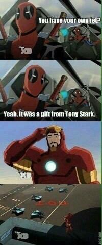 iron man deadpool spider man Right.