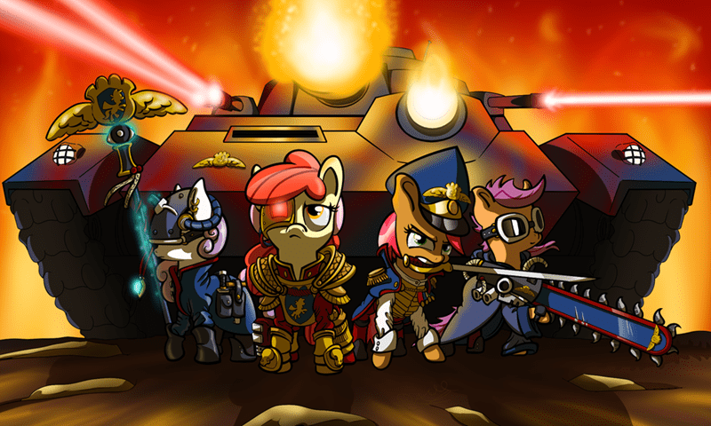 Sweetie Belle,apple bloom,babs seed,warhammer 40k,Scootaloo
