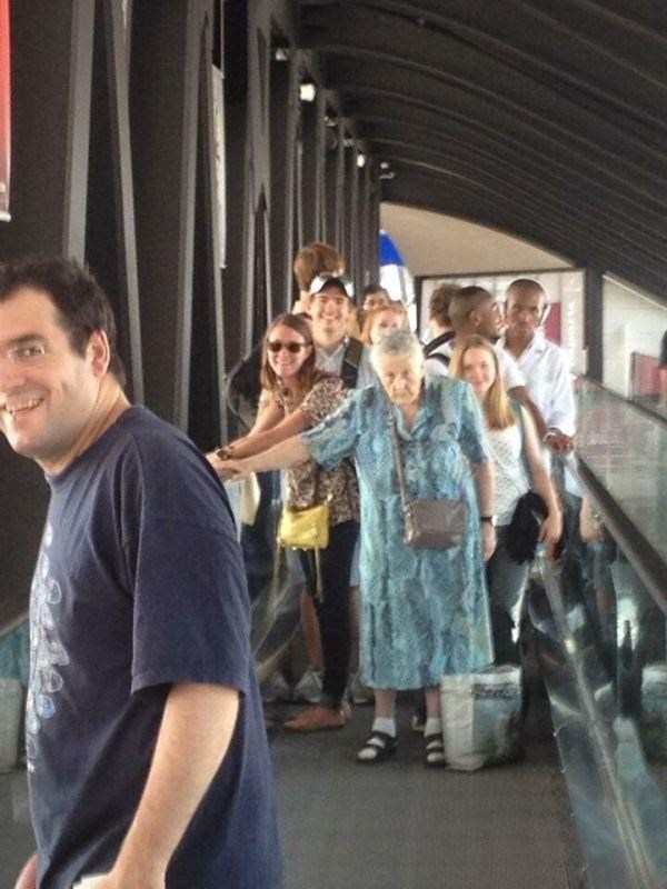 trolling memes old lady blocking escalator