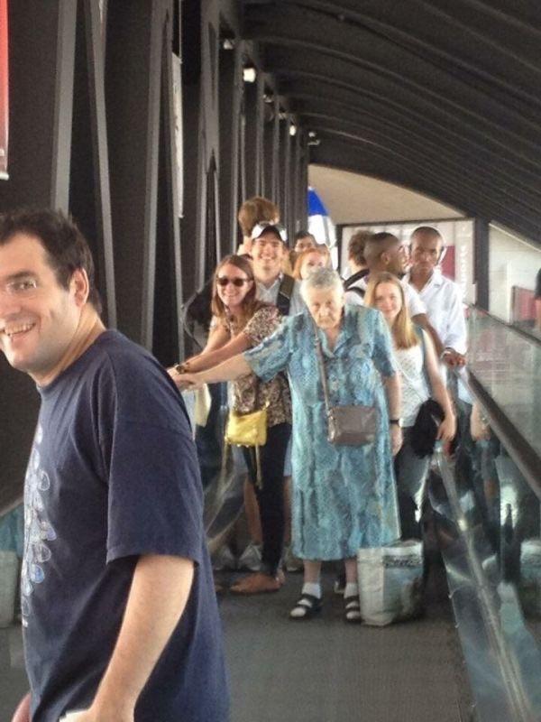 trolling memes old lady blocking escalator