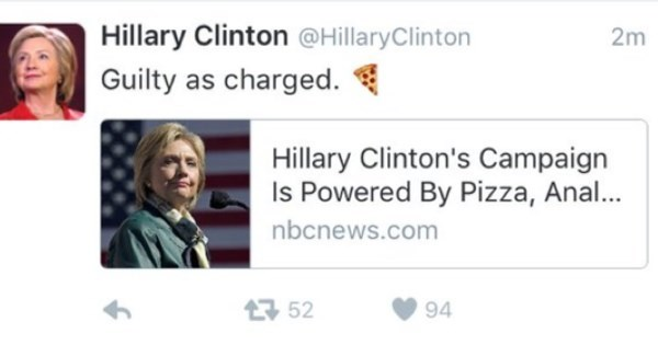 Social Media Fail of The Day: Hillary Clinton's Campaign is Powered by Pizza and Anal