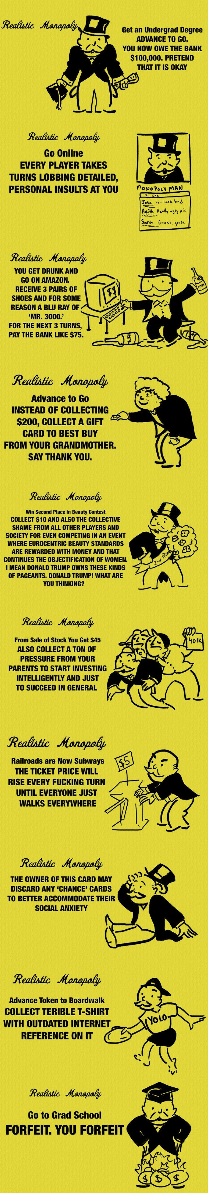 mashable's honest monopoly cards are too relatable