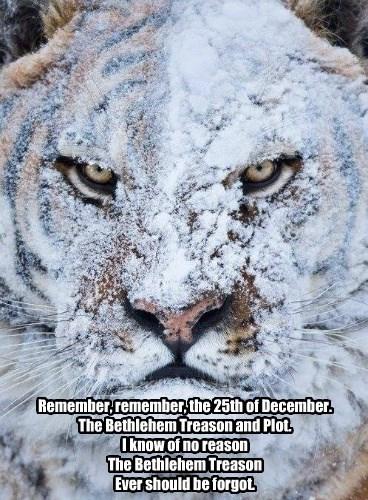 Remember, remember, the 25th of December. The Bethlehem Treason and Plot. I know of no reason The Bethlehem Treason Ever should be forgot.