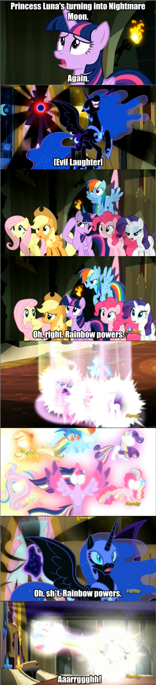 applejack,nightmare moon,twilight sparkle,pinkie pie,rarity,fluttershy,rainbow dash