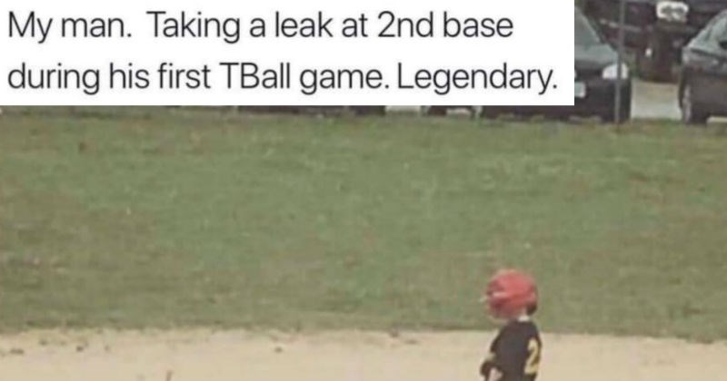 kid peeing during tball game
