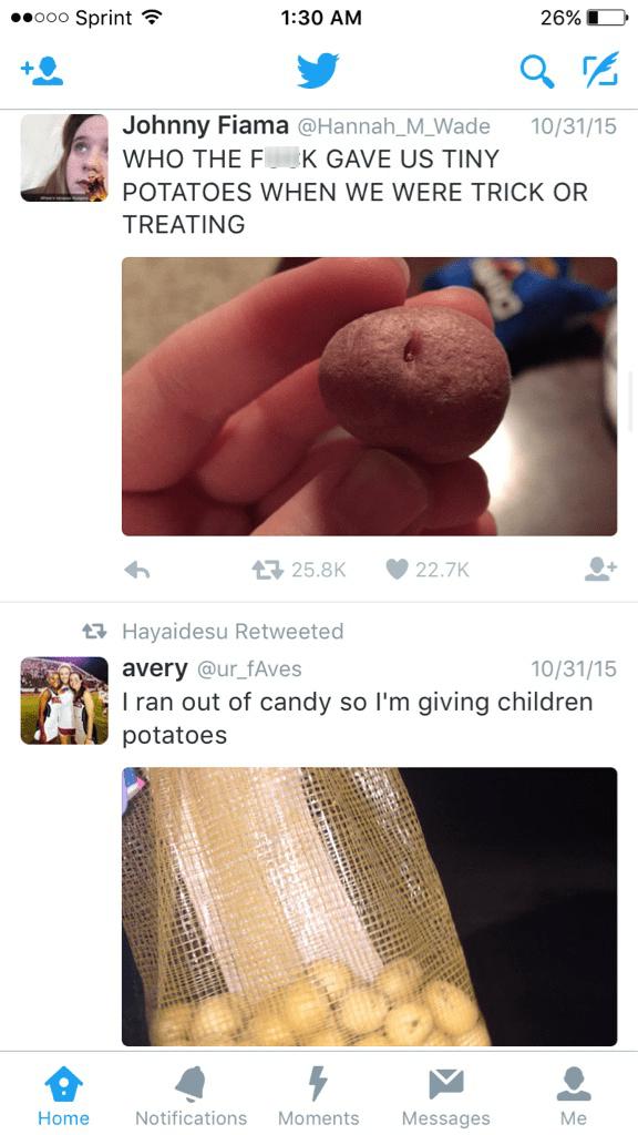 funny memes trick or treat potatoes