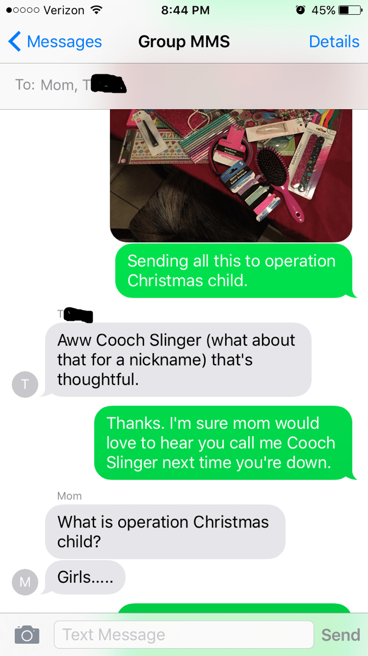 christmas FAIL text vagina family nicknames - 8584046336
