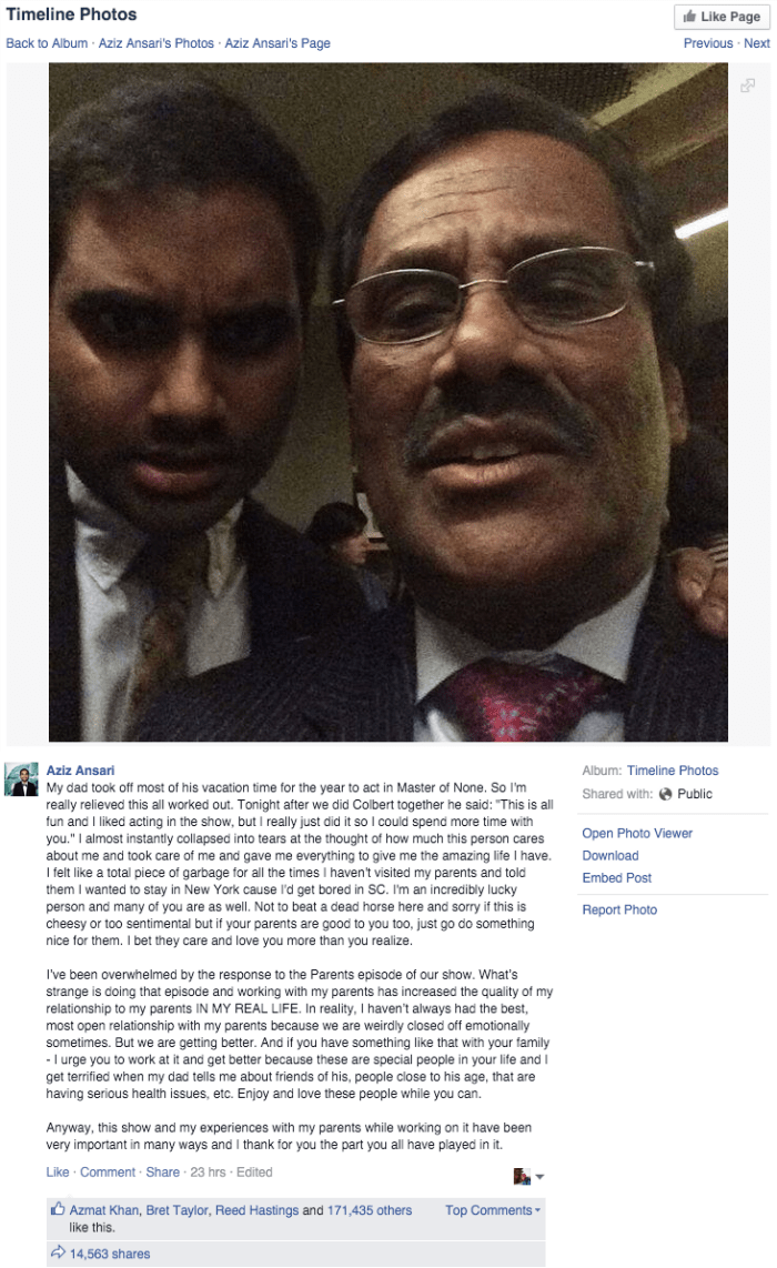social media Aziz Ansari writes heartwarming post about his father