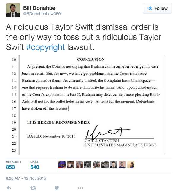 funny fail judge dismisses taylor swift copyright lawsuit with her own lyrics