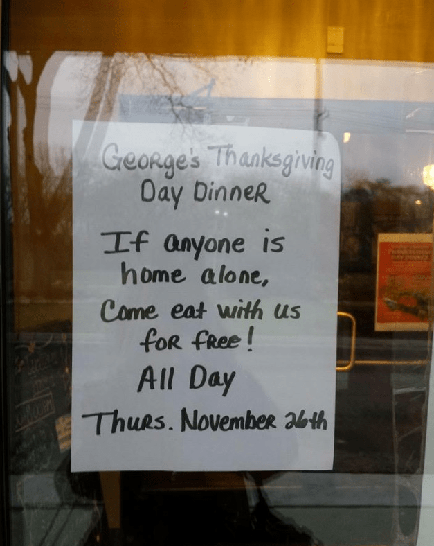 Good Deed of The Day: Michigan Restaurant Advertises Free Thanksgiving Dinner For Any Lonely People
