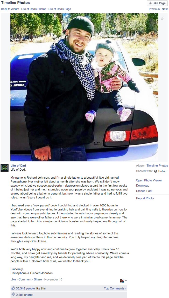 heartwarming single dad's letter of appreciation for support group on facebook