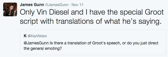 guardians of the galaxy groot James Gunn Says That Groot's Script Has a Secret Translation