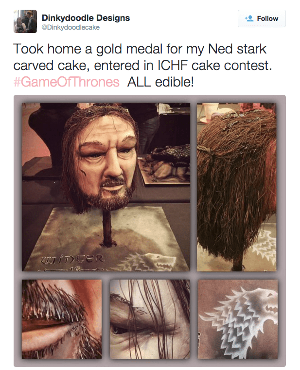 epic game of thrones ned stark cake