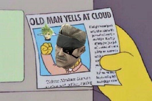 old man yells at cloud,super smash bros,cloud strife,cloud,snake