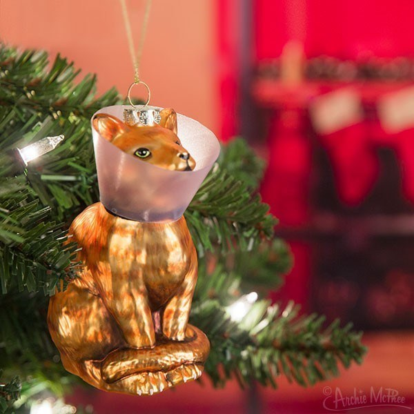cute cats Now You Can Adorn You Christmas Tree With a Cat in a Cone of Shame