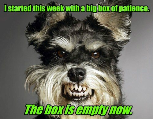 I started this week with a big box of patience. The box is empty now.