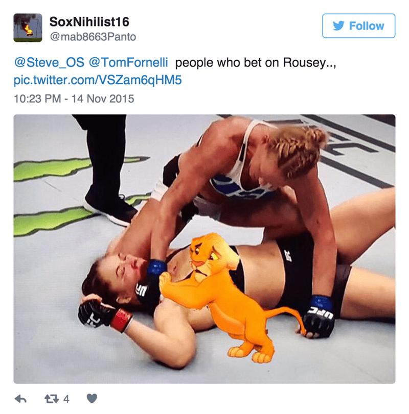 Wrestling - SoxNihilist16 Follow @mab8663Panto @Steve_OS @TomFornelli people who bet on Rousey.., pic.twitter.com/VSZam6q H M5 10:23 PM - 14 Nov 2015 4