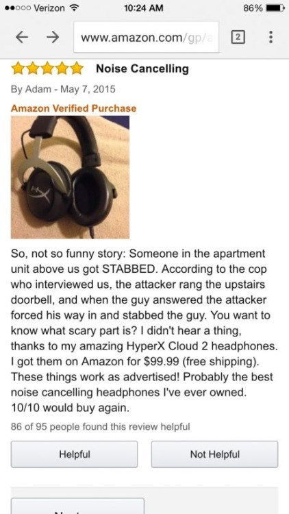 funny amazon review noise canceling headphone stabbing