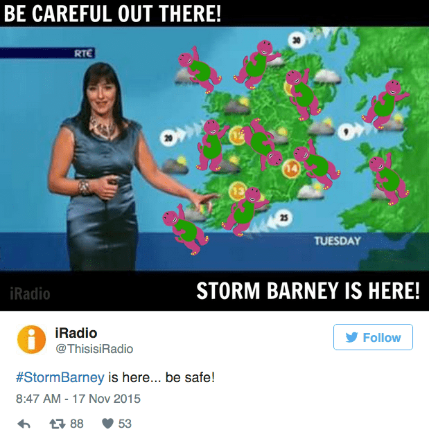 barney storm - Organism - BE CAREFUL OUT THERE! RTE 25 TUESDAY STORM BARNEY IS HERE! iRadio iRadio @ThisisiRadio Follow #StormBarney is here... be safe! 8:47 AM - 17 Nov 2015 88 53