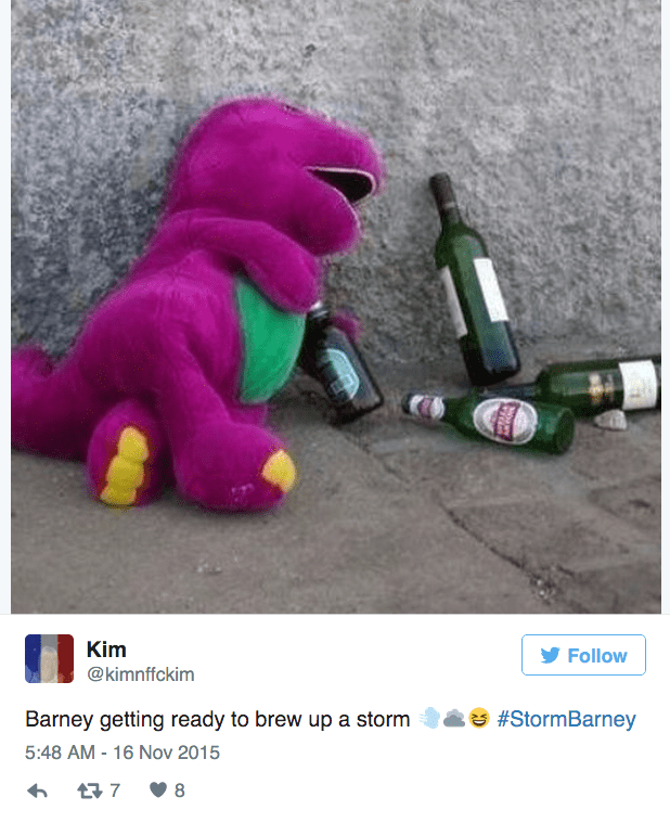barney storm - Toy - Kim Follow @kimnffckim #StormBarney Barney getting ready to brew up a storm 5:48 AM - 16 Nov 2015 7