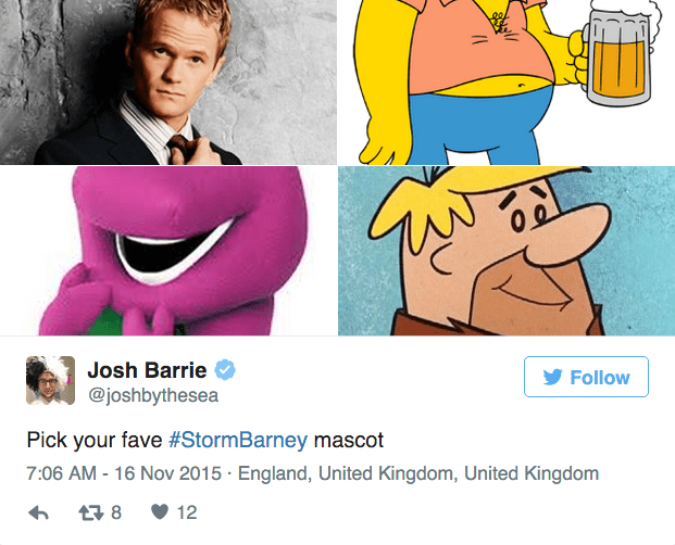 barney storm - Cartoon - Josh Barrie Follow @joshbythesea Pick your fave #StormBarney mascot 7:06 AM - 16 Nov 2015 England, United Kingdom, United Kingdom t8 12