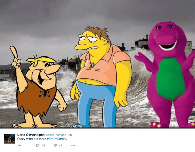 barney storm - Cartoon - Deric Ó h'Artagáin @deric_hartigan 5h Crazy wind out there #StormBarney 1 43 42