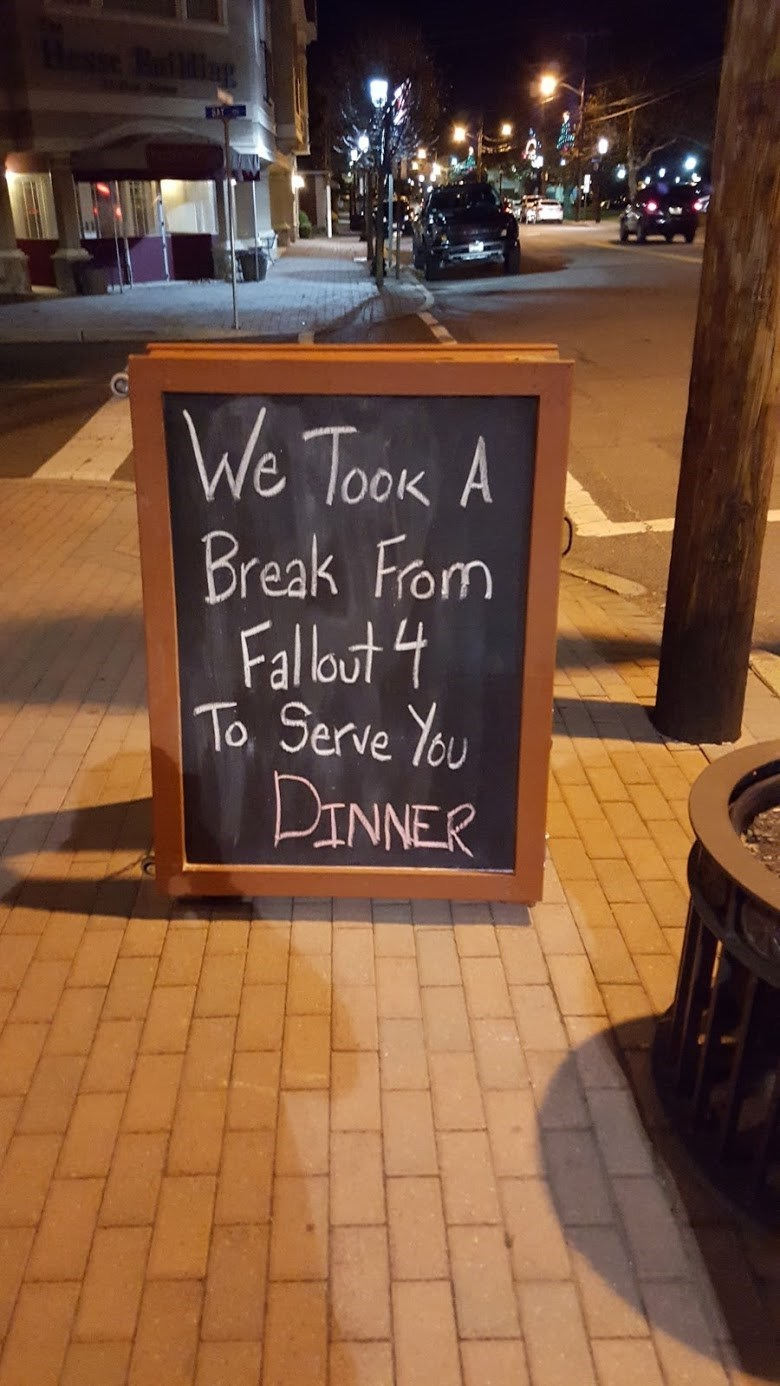 funny memes break from fallout 4 restaurant sign