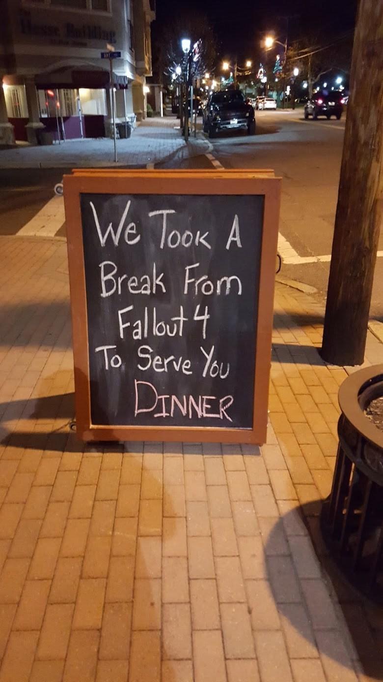 funny memes break from fallout 4 restaurant sign