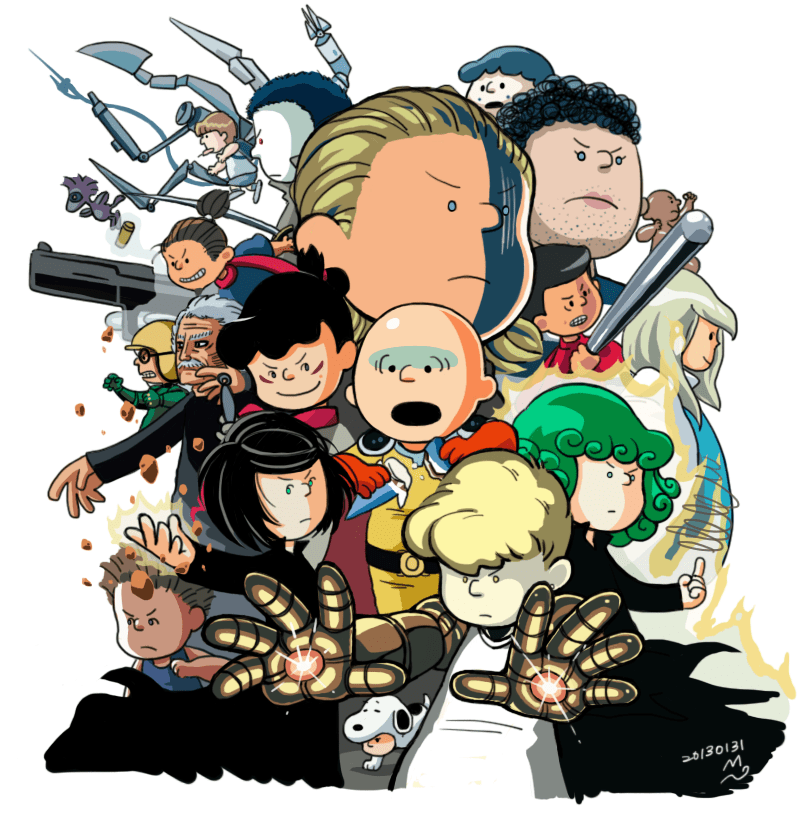 anime,one punch man,charlie brown