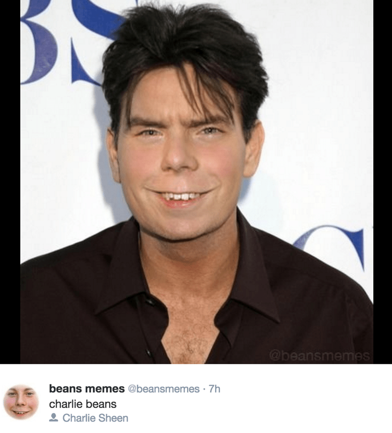 Beans Memes photoshop with Charlie Sheen