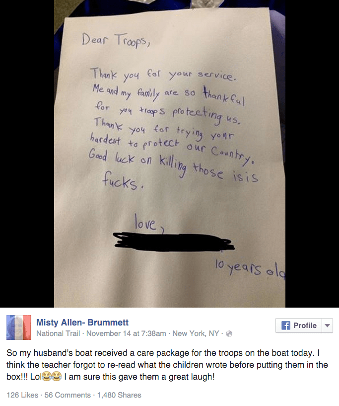 win little boy's letter to troops doesn't f-ck around