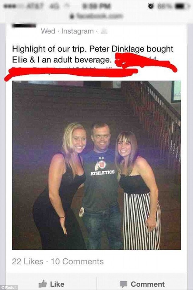 Product - * PM Wed Instagram Highlight of our trip. Peter Dinklage bought Ellie & I an adult beverage. ATHLETICS 22 Likes 10 Comments Like Comment © Reddit