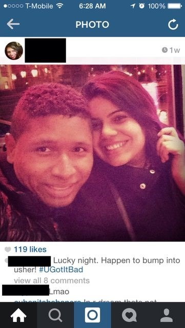 Selfie - .oo0o T-Mobile 6:28 AM 100% PHOTO 0 1w 119 likes Lucky night. Happen to bump into usher! #UGotltBad view all 8 comments Lmao euber