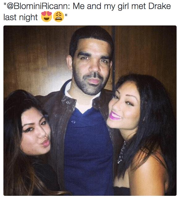 """Hair - """"@BlominiRicann: Me and my girl met Drake last night"""