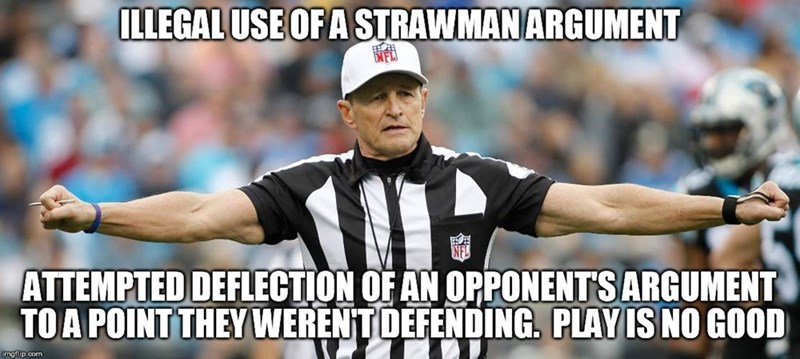 memes - Photo caption - ILLEGAL USE OFA STRAWMANARGUMENT ATTEMPTED DEFLECTION OF AN OPPONENTS ARGUMENT TOA POINT THEY WERENTDEFENDING. PLAY IS NO GOOD imgflip.com