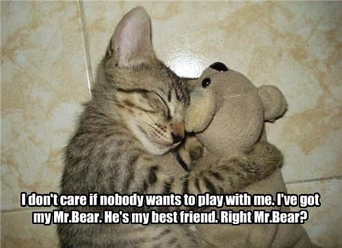 I don't care if nobody wants to play with me. I've got my Mr.Bear. He's my best friend. Right Mr.Bear?