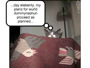...day elebenty, my planz for wurld dommynashun proceed as planned...