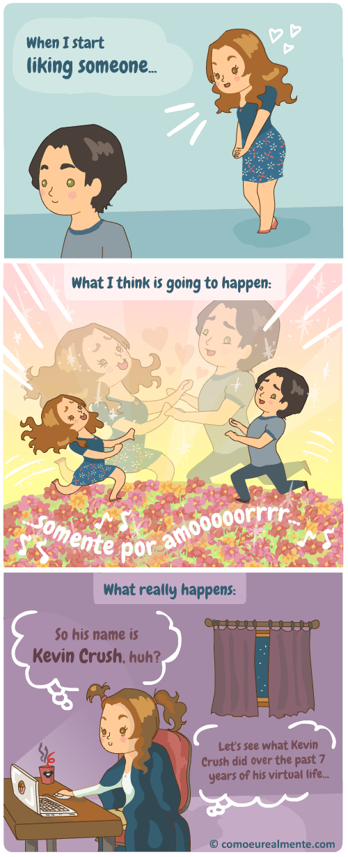 social media web comics romance All the First Date Questions Are Already Answered on His Facebook