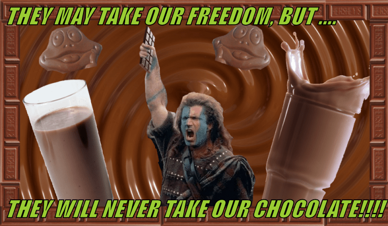 THEY MAY TAKE OUR FREEDOM, BUT ....  THEY WILL NEVER TAKE OUR CHOCOLATE!!!!